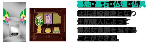 墓地・墓石・仏壇・仏具は非課税資産となり生前購入によって課税対象額を減ずることができる。